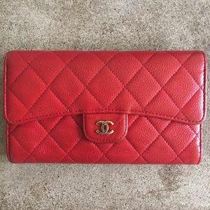 Chanel Red Caviar L-Flap Wallet